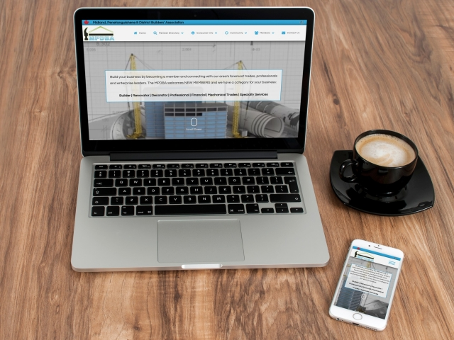 Association Website - laptop and mobile phone responsive