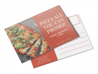 Restaurant coupon promo postcard
