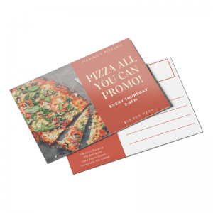 Restaurant coupon promo postcard